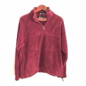 Lands End Burgundy Red Fuzzy Pullover Sweater L